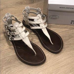Steve Madden Saahara White Leather Sandals